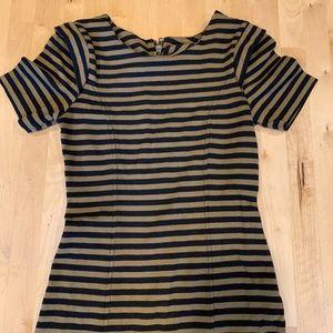French Connection Tan + Black Stripe Mini Dress